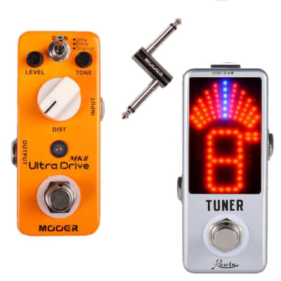 MOOER ULTRA DRIVE MKII Micro Pedal and Rowin Tuner + PC-Z Jack