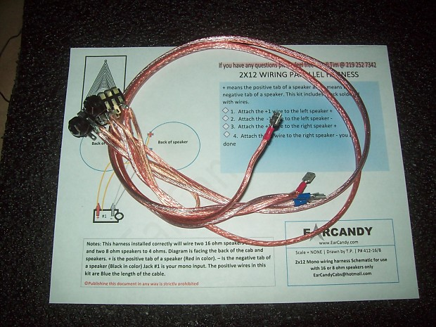 earcandy 2x12 guitar or bass amp speaker cab parallel wiring harness w/  parallel out - no soldering