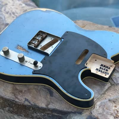 Real Life Relics Tele Telecaster Body Double Bound Charcoal Metallic Aged