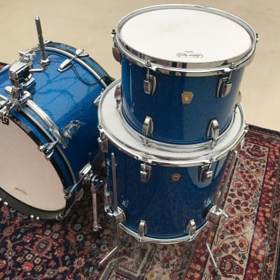 Ludwig LEGACY Maple Kit Hard to Find Color Blue Sparkle 22, 12, 16 - ATLAS Rail/Mounts NOT included