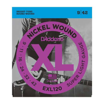 D'Addario EXL120 Nickel Wound Electric Guitar Strings, Super Light, 09-42