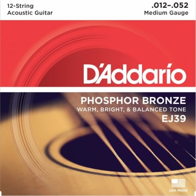 D'Addario EJ39 12-52 12-String Phosphor Bronze Medium Acoustic Guitar Strings