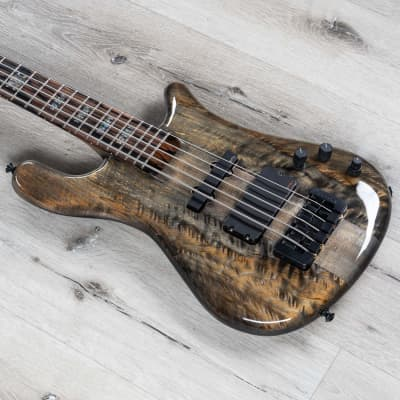 Spector USA NS-5XL 5-String Bass, Figured Spalted Maple Top, Super Faded Black