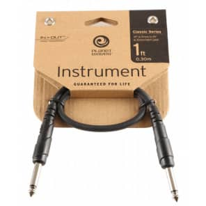 """Planet Waves PW-CGTP-01 Classic Series 1/4"""" TS Straight Patch Cable - 1'"""