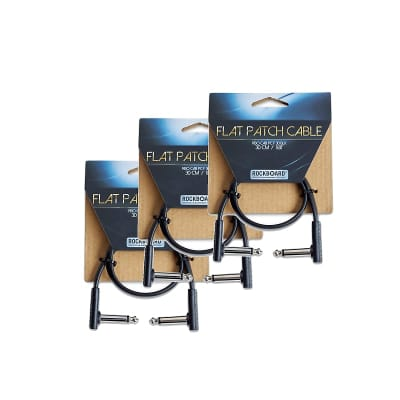 "RockBoard Flat Patch TS Cable Black 11.81"" (30cm) 3-PACK"