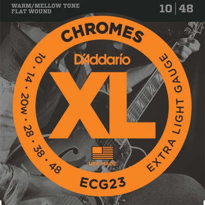 D'Addario ECG23 Chromes Flat Wound Electric Guitar Strings, Extra Light, 10-48