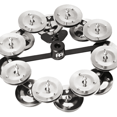 """Meinl Percussion HTHH2BK Headliner Series Hi-Hat Tambourine With Double Row Steel Jingles 5"""""""