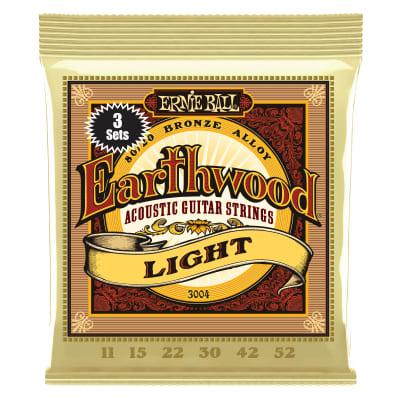 Ernie Ball 3004 Earthwood Light 80/20 Bronze Acoustic Guitar Strings 3-Pack - 11-52 Gauge
