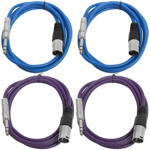 """Seismic Audio SATRXL-M6-2BLUE2PURPLE 1/4"""" TRS Male to XLR Male Patch Cables - 6' (4-Pack)"""