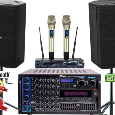 IDOLmain 6000W Professional Karaoke Mixing Amplifier Plus Speakers, Dual Wireless Mics