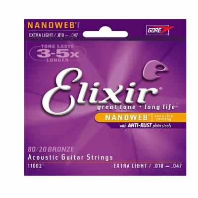 Elixir 11002 Nanoweb 80/20 Bronze - Extra Light Acoustic Guitar Strings (10-47)