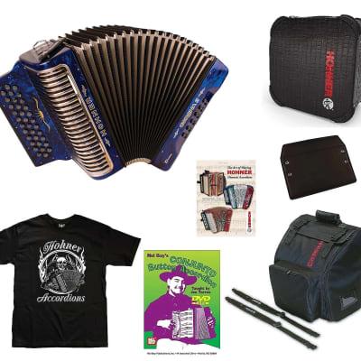 Hohner Xtreme Corona II Blue Crown GCF/Sol Accordion +Case/Bag/Straps/Shirt/DVD | Authorized Dealer