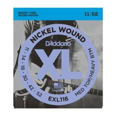 D'Addario EXL116 nickel wound electric guitar strings, Med Top/Heavey Bottom, .011-.052