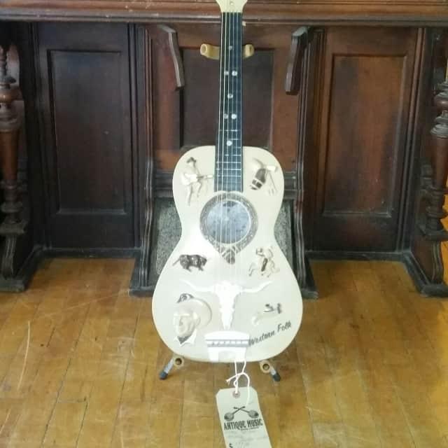 Vintage 1960's (early) Emenee Western Folk Wall Art Guitar image