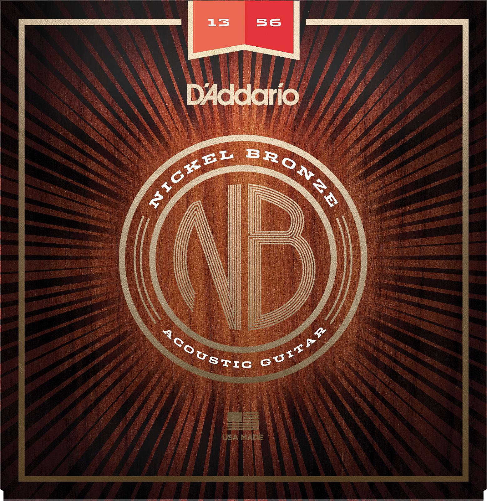 D'Addario NB1356 Nickel Bronze Acoustic Guitar Strings, Medium, 13-56