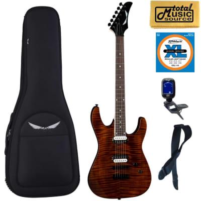 Dean Modern 24 Select Electric Guitar Flame Top Tiger Eye, Bag Bundle