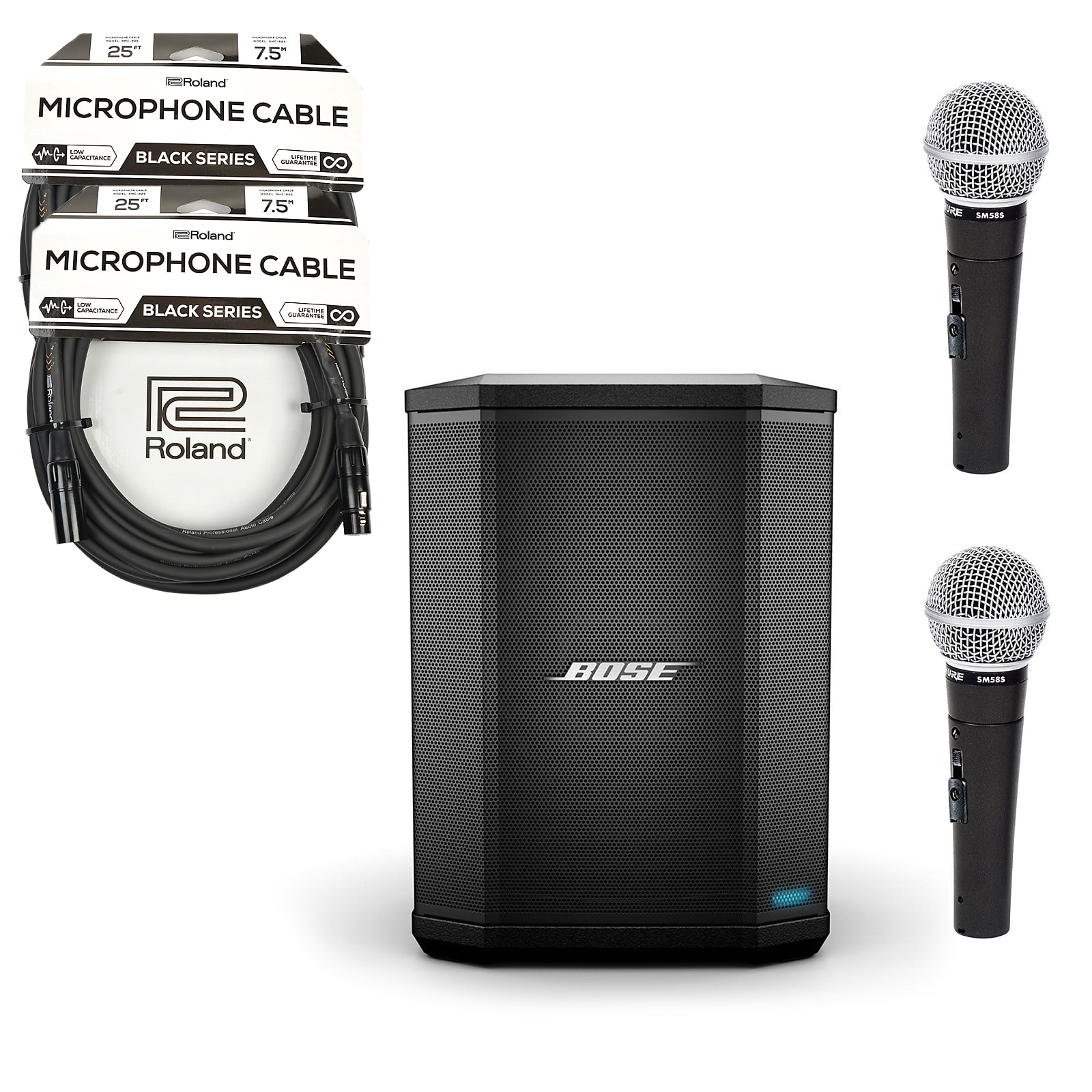 Bose S1 Pro Multi-Position PA System w/ Included Battery Pack, 2 SM58S and  Roland XLR Cables Bundle