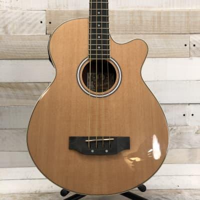 Oscar Schmidt OB100 Acoustic-Electric Bass Guitar Natural w/Padded Gig Bag for sale