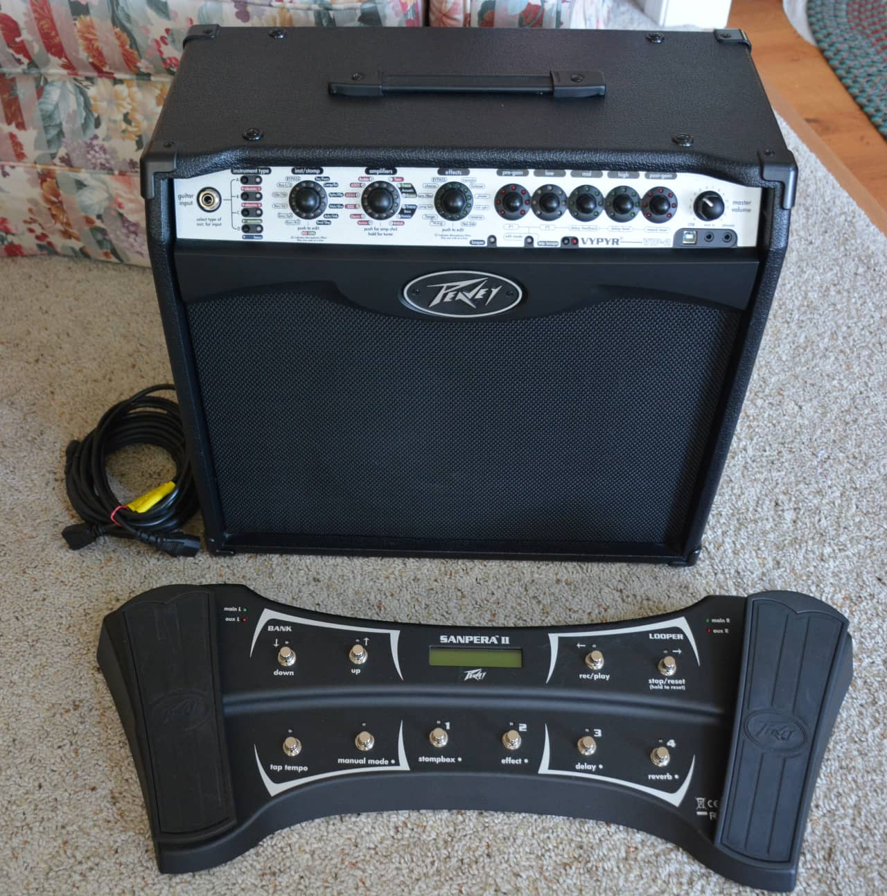 peavey vypyr vip 2 40w amp plus sampera ii 2 footswitch reverb. Black Bedroom Furniture Sets. Home Design Ideas