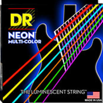DR Hi-Def Neon multi-colored electric guitar strings, Light, .090