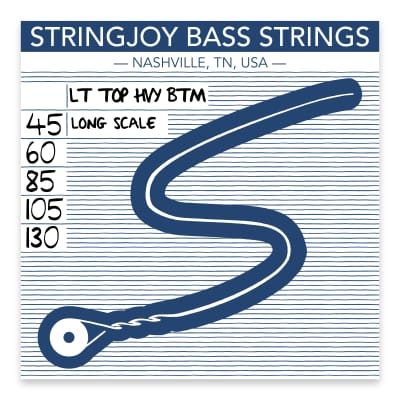 Stringjoy Light Top / Heavy Bottom Gauge (45-130) 5 String Long Scale Nickel Wound Bass Guitar Strings