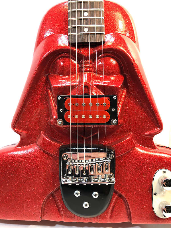 Electric guitar made out of a vintage star wars action figure case because who the hell knows why The Blinged Out Darth Vadercaster 2020 Hot Rod Red Sparkle