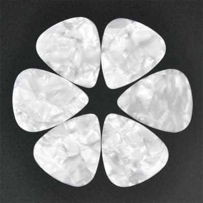 Celluloid White Pearl Guitar Or Bass Pick - 0.71 mm Medium Gauge - 351 Shape - 3 Pack New
