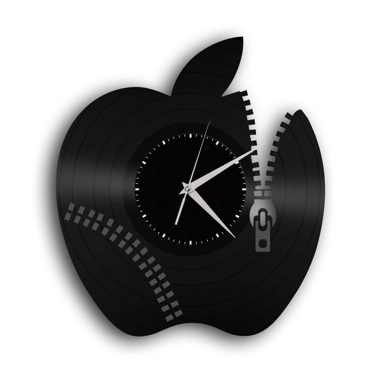 Apple Vinyl Wall Clock Gold Black Vinylshopus Reverb