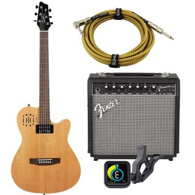 Godin A6 Ultra – Natural Semi-gloss (030293), Fender Champion 20, KLIQ UberTune, GLS 15 FT Guitar Cable Bundle