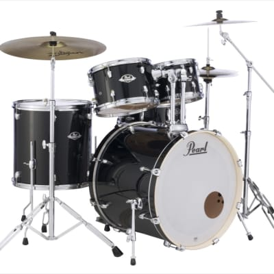 Pearl Export 5-pc. Drum Set with Hardware and Zildjian Cymbals - Jet Black