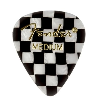 Fender Premium Celluloid 351 Shape Picks Medium Checker 12 Count for sale