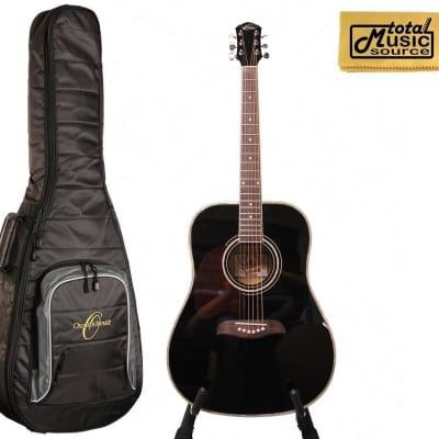 Oscar Schmidt OG2 Left Hand Dreadnought Acoustic Guitar Black w/Gigbag OG2BLH BAG