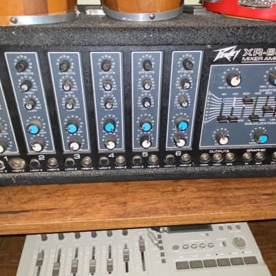 Peavey XR-600B PA Mixer + 2  1115HC Speakers with Stands 1982 Black