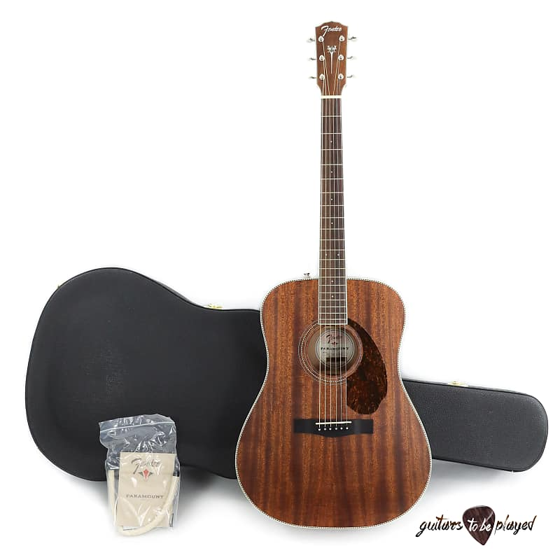 Guitars & Basses Fender Paramount Series Pm-1 Dreadnought All Mahogany Natural refurbished Musical Instruments & Gear