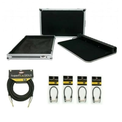 """OSP 32"""" Guitar Effects Pedal Board Package wi/Road Case, 20ft & (4) 1ft Cables"""