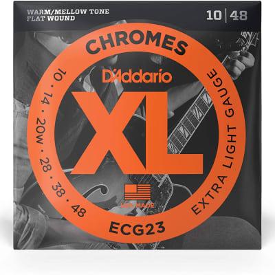 D'Addario Chromes Electric Flat Wound XL Strings - EGC23 CHROMES X-LITE 10-48