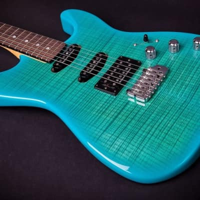 Chris Campbell Custom Shop Turquoise Candy Burst 4 A Flame Birdseye Neck for sale