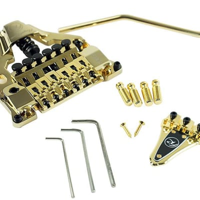 Floyd Rose FRTX03000 FRX Surface-Mount Tremolo Bridge System Kit with Nut - GOLD for sale
