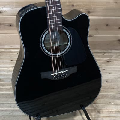Takamine GD30CE-12 BLK G30 Series 12-String Dreadnought Cutaway Acoustic/Electric Guitar Gloss Black