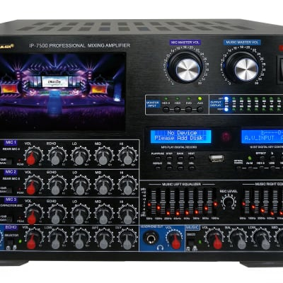 "IDOLmain IP-7500 8000W Pro Mixing Amplifier W/ Optical Input,7"" LCD Screen, Bluetooth"