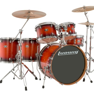 Evolution Maple 6 pc. Drumkit with Hardware and Zildjian ZBT Cymbals- Mahogany Burst