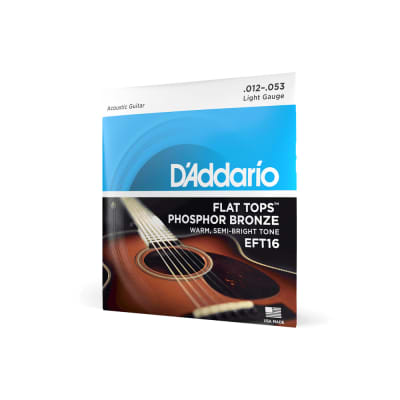 D'Addario Flat Tops Phosphor Bronze Acoustic Guitar Strings, Light
