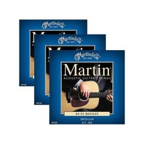 Martin M-150 80/20 Bronze Medium Acoustic Strings 3-Pack