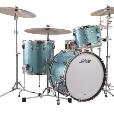Ludwig Classic Maple Teal Blue Downbeat 14x20_8x12_14x14 Kit Drums Special Order | Authorized Dealer