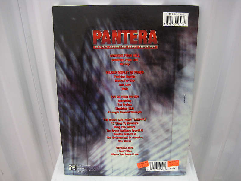 Pantera Bass Anthology Series Bass Tab Tablature Sheet Music Song Book  Songbook by Alfred