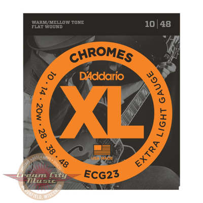 D'Addario ECG23 Chromes Flat Wound Extra Light Guitar Strings .010-.048