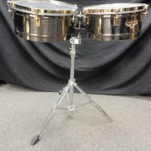 "Latin Percussion M257B Matador Series 14"" / 15"" Brass Timbales w/ Stand"