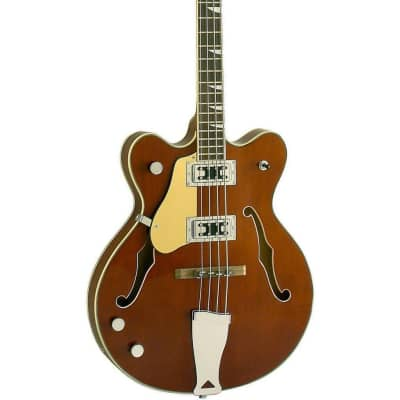 """Eastwood Guitars Classic 4 Bass LEFTY - Walnut - Left Handed 30"""" Short Scale Semi-Hollow Body - NEW!"""