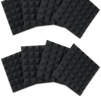 "Gator 8 Pack of Charcoal 12x12"" Acoustic Pyramid Panel"