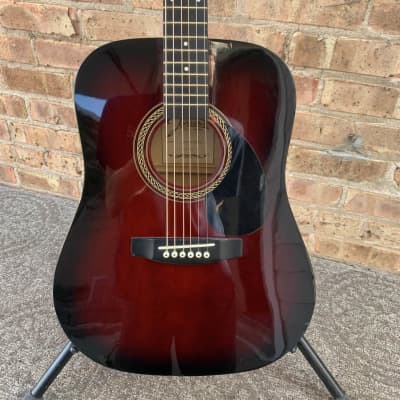 Johnson 3/4 Steel String Acoustic Guitar Red Burst for sale